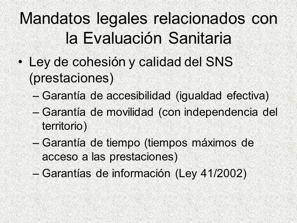 Mandatos legales relacionados con la Evaluación Sanitaria Ley de cohesión y calidad del SNS (prestaciones) –Garantía de accesibilidad (igualdad efecti