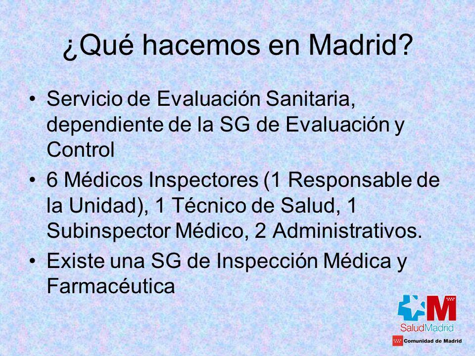 ¿Qué hacemos en Madrid? Servicio de Evaluación Sanitaria, dependiente de la SG de Evaluación y Control 6 Médicos Inspectores (1 Responsable de la Unid