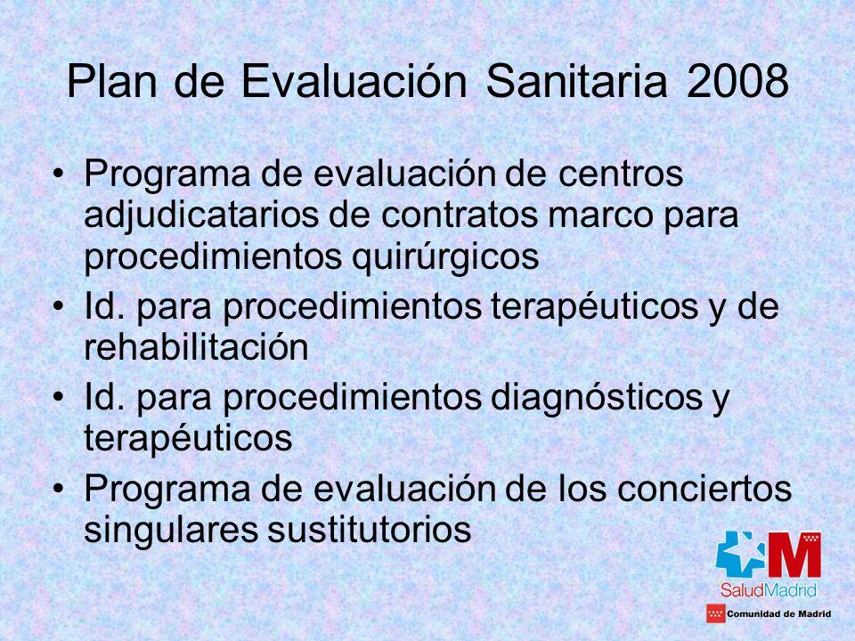 Plan de Evaluación Sanitaria 2008 Programa de evaluación de centros adjudicatarios de contratos marco para procedimientos quirúrgicos Id. para procedi