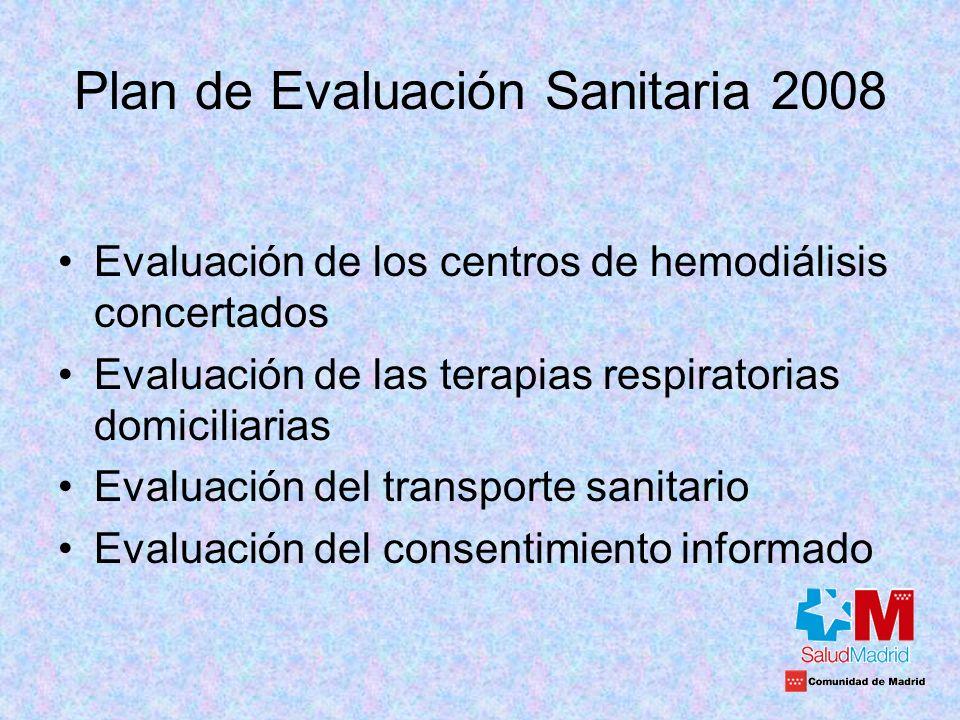 Plan de Evaluación Sanitaria 2008 Evaluación de los centros de hemodiálisis concertados Evaluación de las terapias respiratorias domiciliarias Evaluac