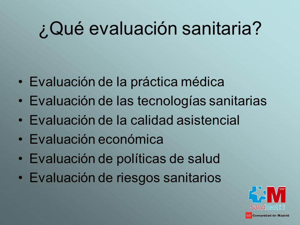 ¿Qué evaluación sanitaria? Evaluación de la práctica médica Evaluación de las tecnologías sanitarias Evaluación de la calidad asistencial Evaluación e
