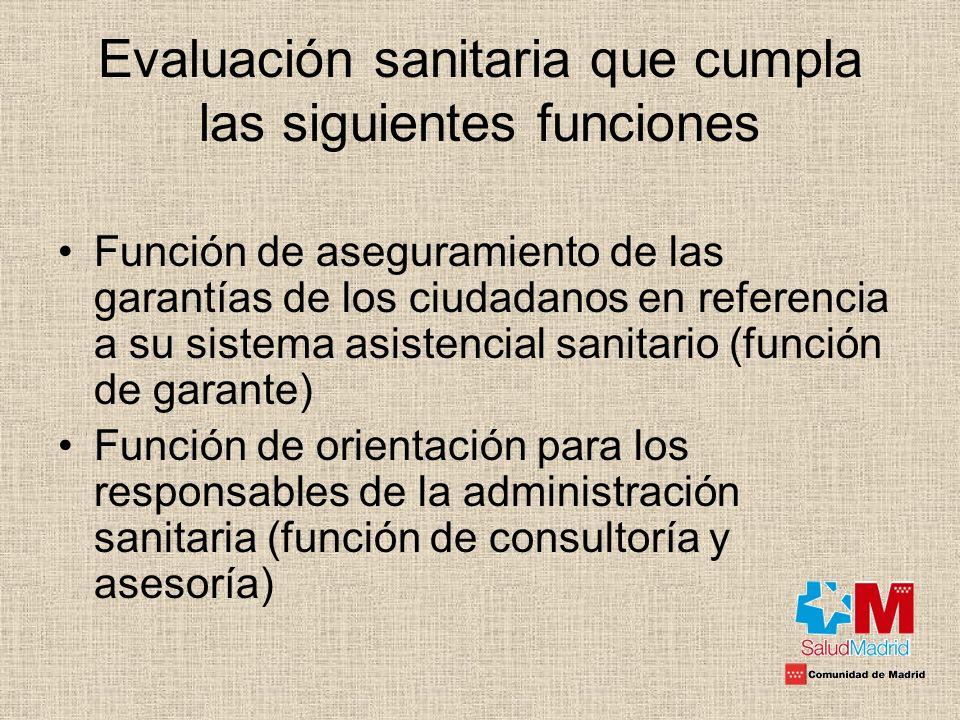 Evaluación sanitaria que cumpla las siguientes funciones Función de aseguramiento de las garantías de los ciudadanos en referencia a su sistema asiste