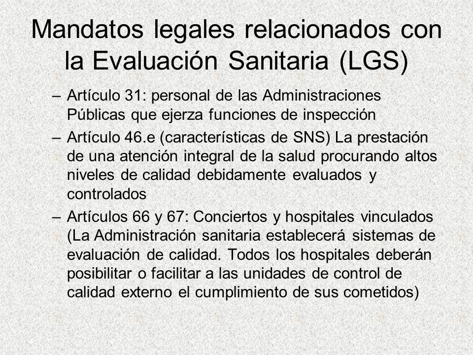 Mandatos legales relacionados con la Evaluación Sanitaria (LGS) –Artículo 31: personal de las Administraciones Públicas que ejerza funciones de inspec