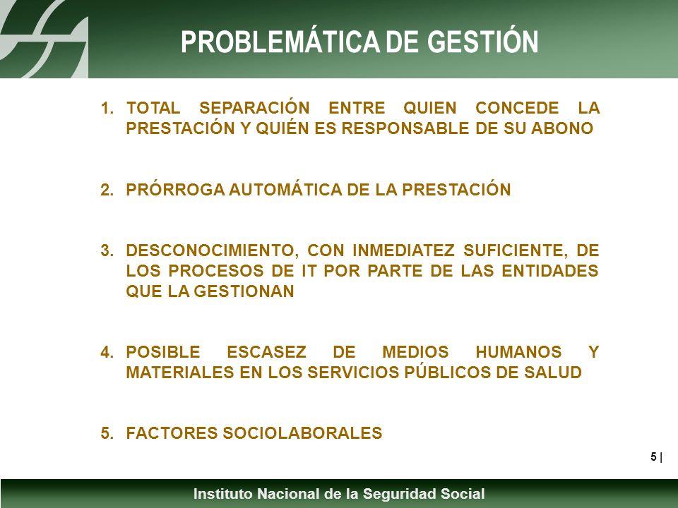 Instituto Nacional de la Seguridad Social PROBLEMÁTICA DE GESTIÓN 5 | 1.TOTAL SEPARACIÓN ENTRE QUIEN CONCEDE LA PRESTACIÓN Y QUIÉN ES RESPONSABLE DE SU ABONO 2.PRÓRROGA AUTOMÁTICA DE LA PRESTACIÓN 3.DESCONOCIMIENTO, CON INMEDIATEZ SUFICIENTE, DE LOS PROCESOS DE IT POR PARTE DE LAS ENTIDADES QUE LA GESTIONAN 4.POSIBLE ESCASEZ DE MEDIOS HUMANOS Y MATERIALES EN LOS SERVICIOS PÚBLICOS DE SALUD 5.FACTORES SOCIOLABORALES