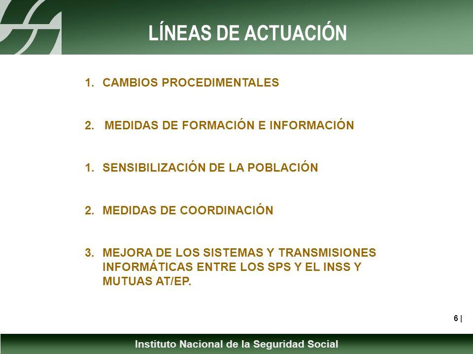 Instituto Nacional de la Seguridad Social LÍNEAS DE ACTUACIÓN 6 | 1.CAMBIOS PROCEDIMENTALES 2.