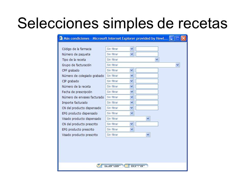 Selecciones simples de recetas