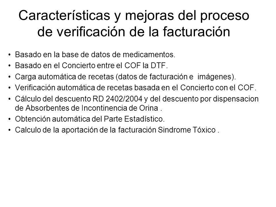 Características y mejoras del proceso de verificación de la facturación Basado en la base de datos de medicamentos. Basado en el Concierto entre el CO