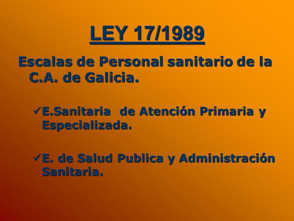 LEY 17/1989 Escalas de Personal sanitario de la C.A. de Galicia. E.Sanitaria de Atención Primaria y Especializada. E.Sanitaria de Atención Primaria y