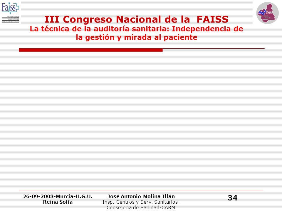 III Congreso Nacional de la FAISS La técnica de la auditoría sanitaria: Independencia de la gestión y mirada al paciente 26-09-2008-Murcia-H.G.U.