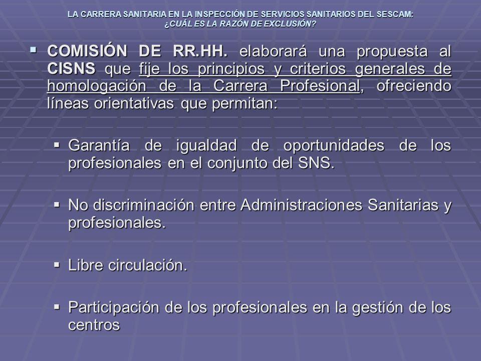 LA CARRERA SANITARIA EN LA INSPECCIÓN DE SERVICIOS SANITARIOS DEL SESCAM: ¿CUÁL ES LA RAZÓN DE EXCLUSIÓN? COMISIÓN DE RR.HH. elaborará una propuesta a