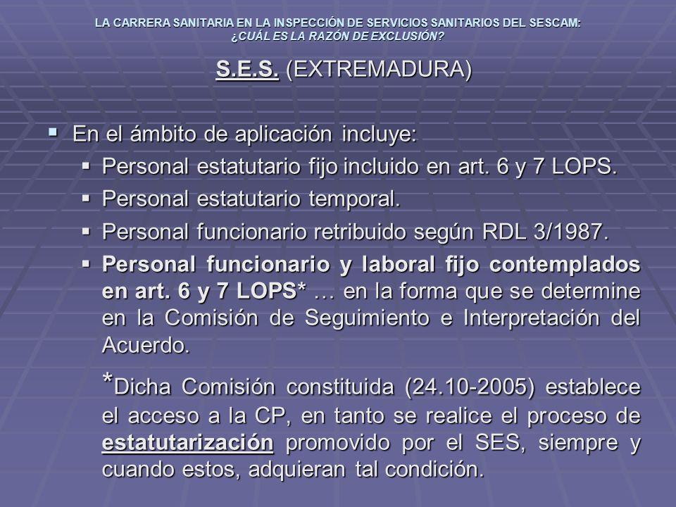 LA CARRERA SANITARIA EN LA INSPECCIÓN DE SERVICIOS SANITARIOS DEL SESCAM: ¿CUÁL ES LA RAZÓN DE EXCLUSIÓN? S.E.S. (EXTREMADURA) En el ámbito de aplicac