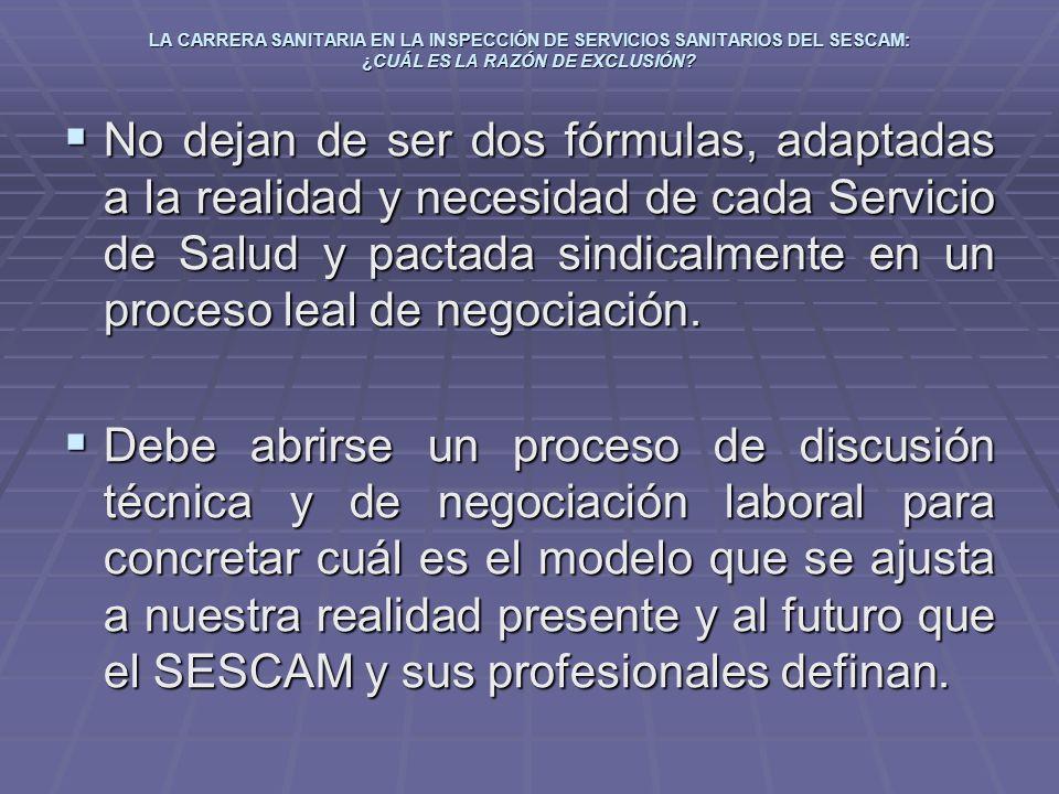 LA CARRERA SANITARIA EN LA INSPECCIÓN DE SERVICIOS SANITARIOS DEL SESCAM: ¿CUÁL ES LA RAZÓN DE EXCLUSIÓN? No dejan de ser dos fórmulas, adaptadas a la