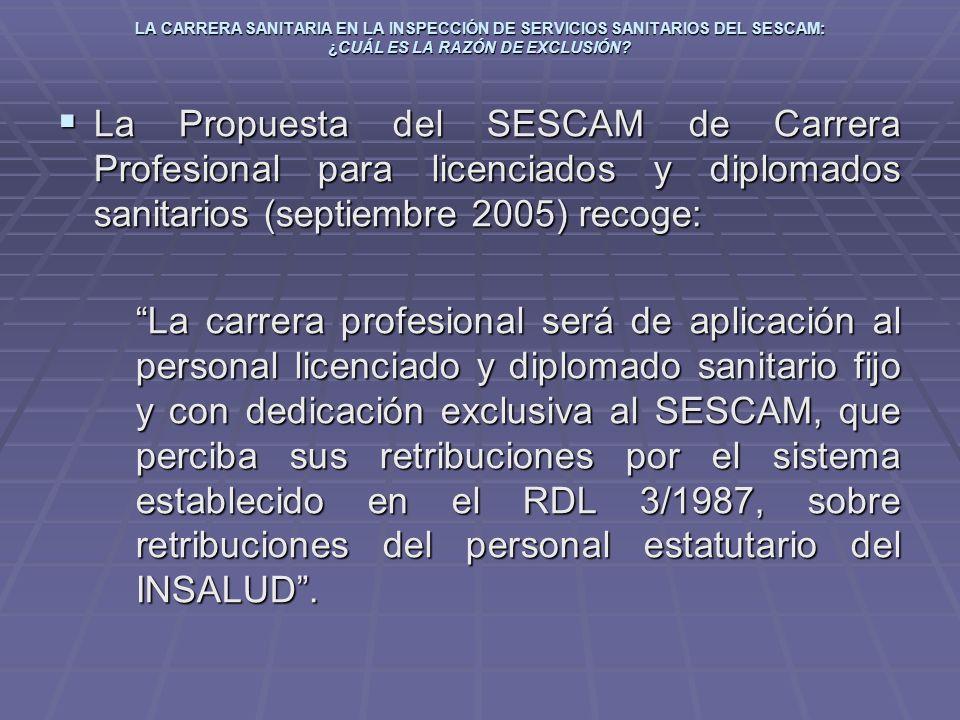 LA CARRERA SANITARIA EN LA INSPECCIÓN DE SERVICIOS SANITARIOS DEL SESCAM: ¿CUÁL ES LA RAZÓN DE EXCLUSIÓN? La Propuesta del SESCAM de Carrera Profesion