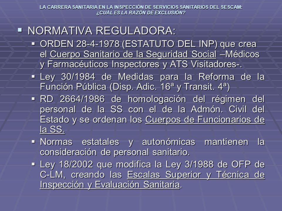LA CARRERA SANITARIA EN LA INSPECCIÓN DE SERVICIOS SANITARIOS DEL SESCAM: ¿CUÁL ES LA RAZÓN DE EXCLUSIÓN? NORMATIVA REGULADORA: NORMATIVA REGULADORA: