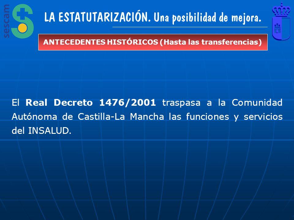 LA ESTATUTARIZACIÓN. Una posibilidad de mejora. ANTECEDENTES HISTÓRICOS (Hasta las transferencias) El Real Decreto 1476/2001 traspasa a la Comunidad A