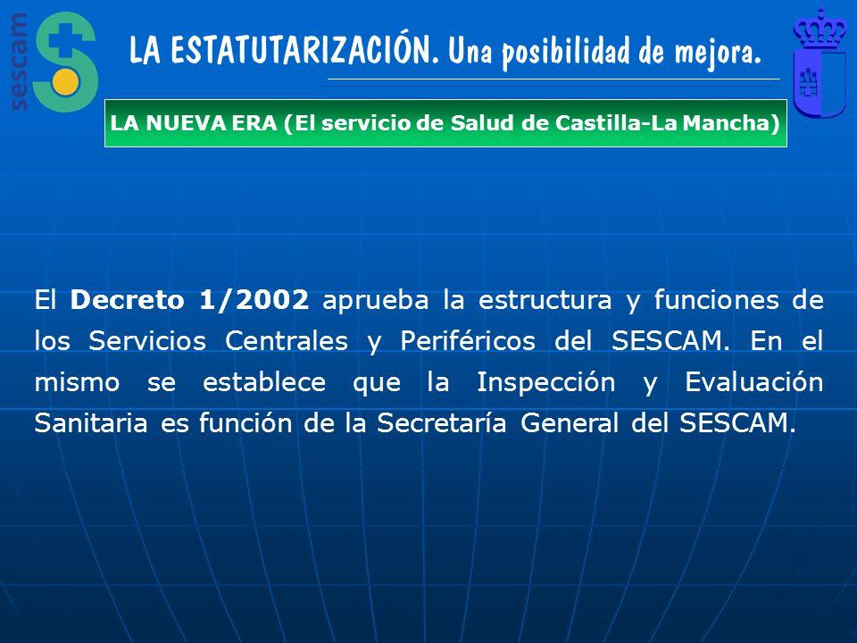 LA ESTATUTARIZACIÓN. Una posibilidad de mejora. LA NUEVA ERA (El servicio de Salud de Castilla-La Mancha) El Decreto 1/2002 aprueba la estructura y fu