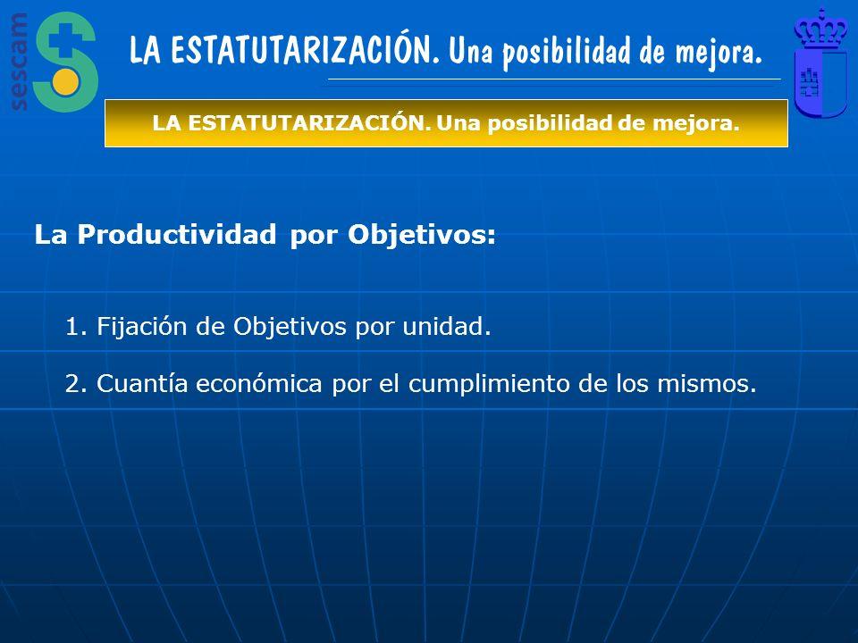 La Productividad por Objetivos: 1.Fijación de Objetivos por unidad. 2.Cuantía económica por el cumplimiento de los mismos. LA ESTATUTARIZACIÓN. Una po