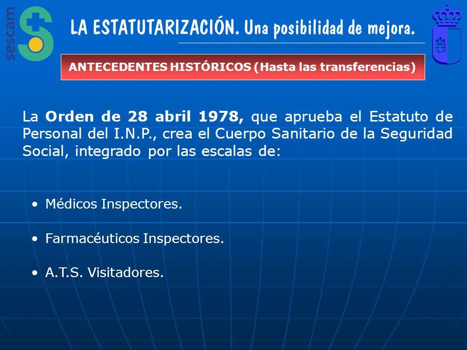 LA ESTATUTARIZACIÓN. Una posibilidad de mejora. ANTECEDENTES HISTÓRICOS (Hasta las transferencias) La Orden de 28 abril 1978, que aprueba el Estatuto