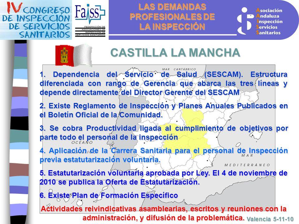 LAS DEMANDAS PROFESIONALES DE LA INSPECCIÓN Valencia 5-11-10 CASTILLA LA MANCHA 1.