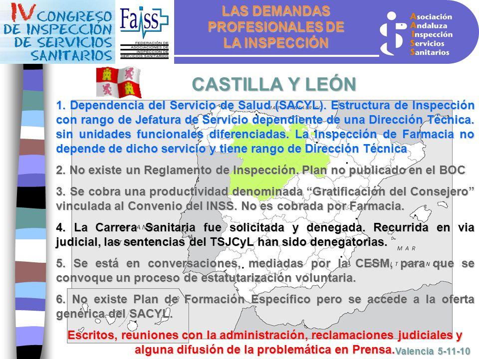 LAS DEMANDAS PROFESIONALES DE LA INSPECCIÓN Valencia 5-11-10 CASTILLA Y LEÓN 1.