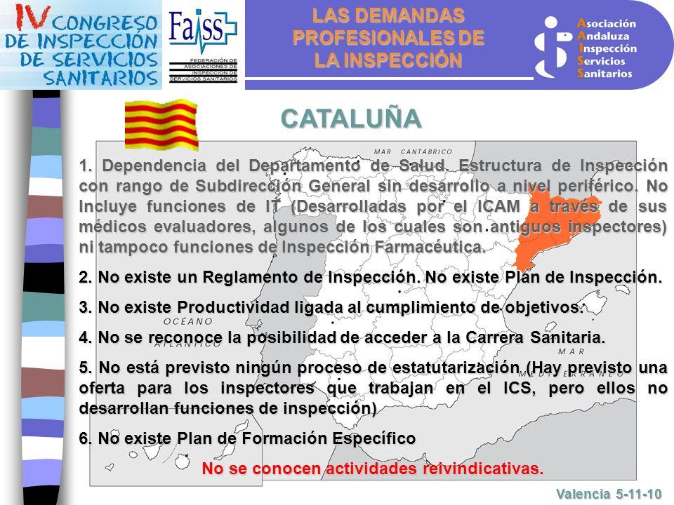 LAS DEMANDAS PROFESIONALES DE LA INSPECCIÓN Valencia 5-11-10 CATALUÑA 1.