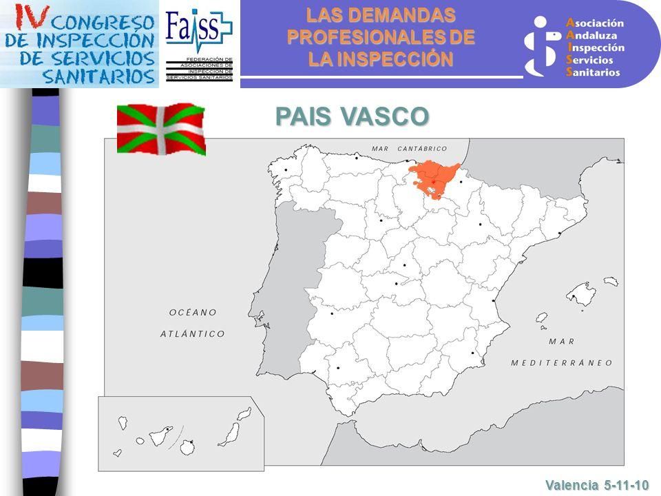 LAS DEMANDAS PROFESIONALES DE LA INSPECCIÓN Valencia 5-11-10 PAIS VASCO