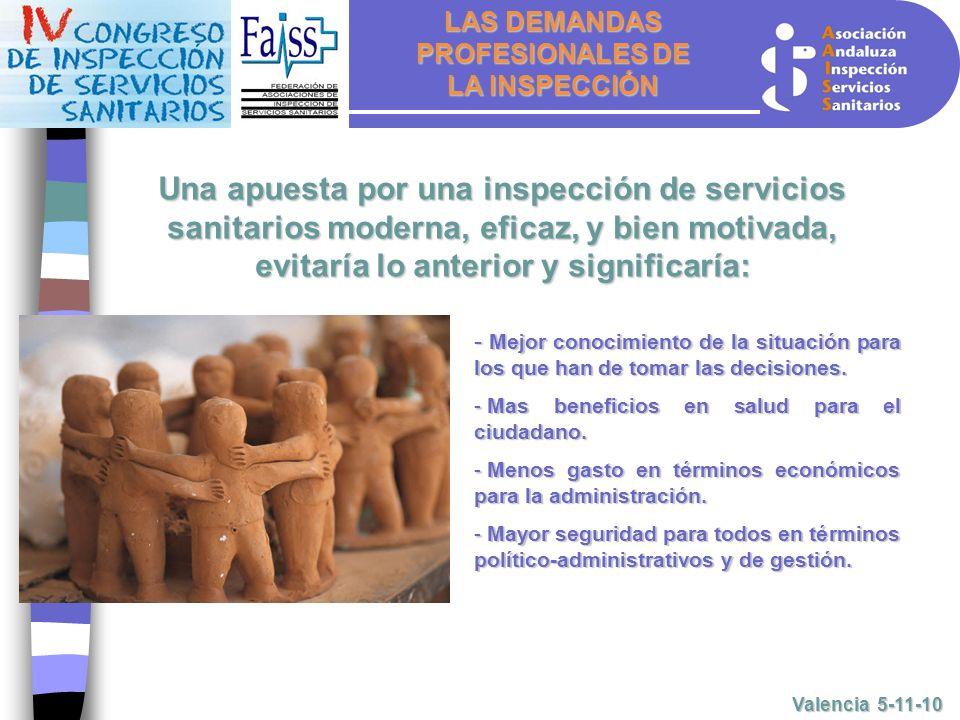 LAS DEMANDAS PROFESIONALES DE LA INSPECCIÓN Valencia 5-11-10 - M- M- M- Mejor conocimiento de la situación para los que han de tomar las decisiones.