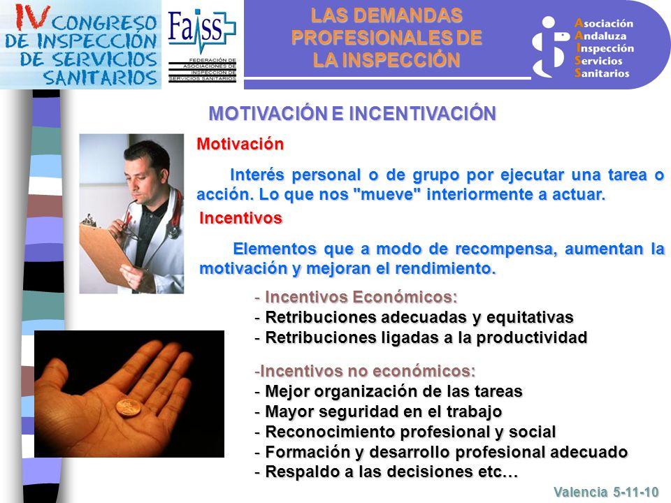LAS DEMANDAS PROFESIONALES DE LA INSPECCIÓN Valencia 5-11-10 Motivación Interés personal o de grupo por ejecutar una tarea o acción.