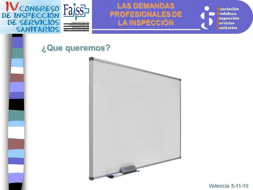 LAS DEMANDAS PROFESIONALES DE LA INSPECCIÓN Valencia 5-11-10 ¿Que queremos