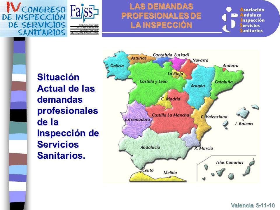 LAS DEMANDAS PROFESIONALES DE LA INSPECCIÓN Valencia 5-11-10 Situación Actual de las demandas profesionales de la Inspección de Servicios Sanitarios.
