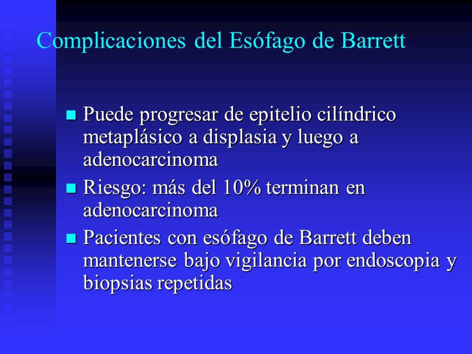 Complicaciones del Esófago de Barrett Puede progresar de epitelio cilíndrico metaplásico a displasia y luego a adenocarcinoma Puede progresar de epite
