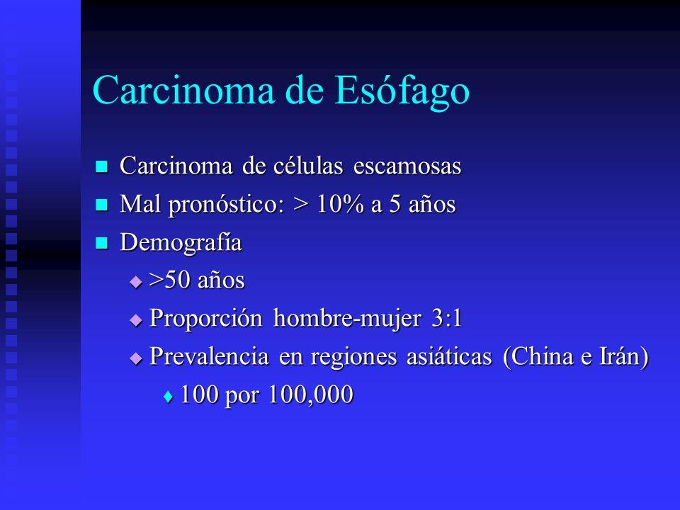 Carcinoma de Esófago Carcinoma de células escamosas Carcinoma de células escamosas Mal pronóstico: > 10% a 5 años Mal pronóstico: > 10% a 5 años Demog
