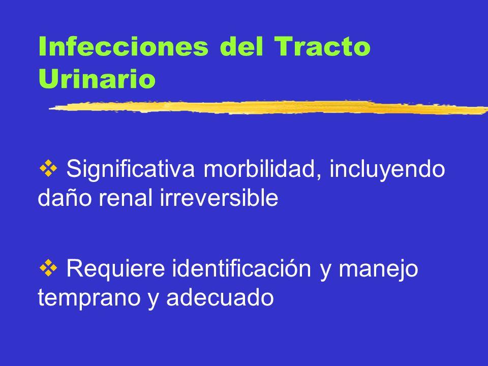 CONCEPTO Crecimiento bacteriano significativo dentro del tracto urinario zCistitis: infección localizada en vejiga zPielonefritis: parénquima renal zBacteriuria asintomática zSxs: fiebre, disuria, urgencia, incontinencia, dolor abdominal
