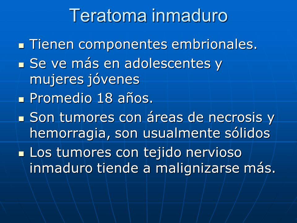 Teratoma inmaduro Tienen componentes embrionales. Tienen componentes embrionales. Se ve más en adolescentes y mujeres jóvenes Se ve más en adolescente
