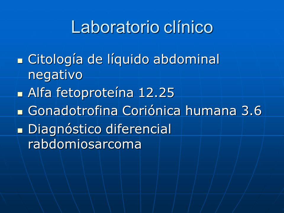 Laboratorio clínico Citología de líquido abdominal negativo Citología de líquido abdominal negativo Alfa fetoproteína 12.25 Alfa fetoproteína 12.25 Go