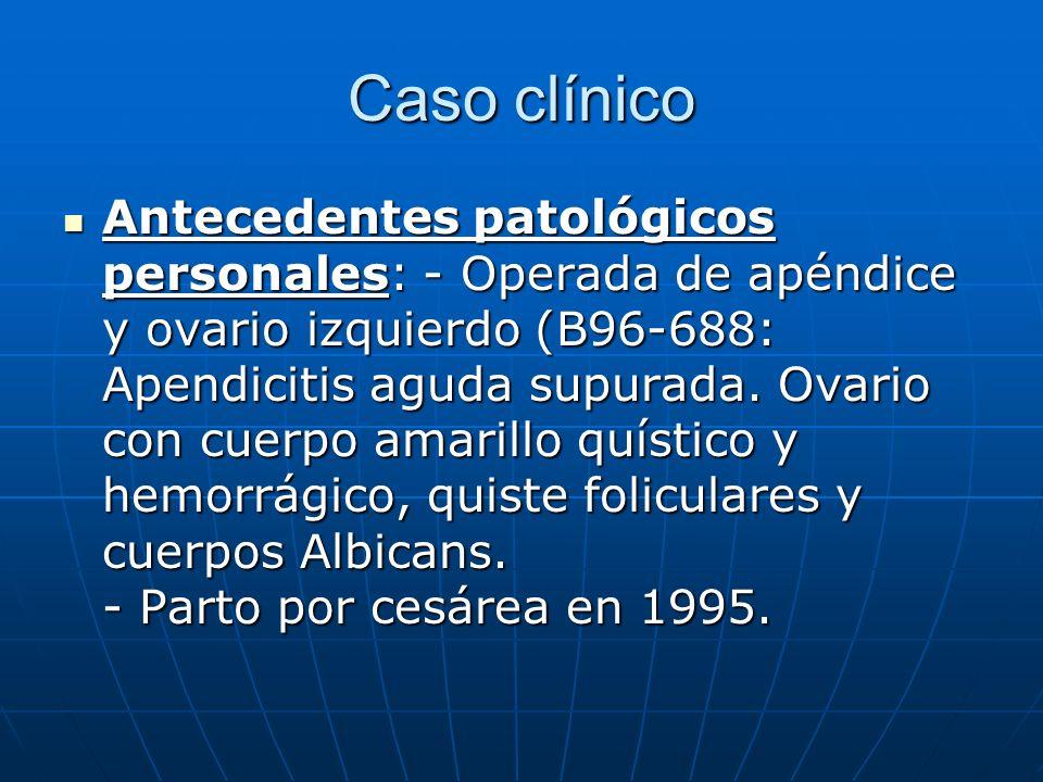 Caso clínico Antecedentes patológicos personales: - Operada de apéndice y ovario izquierdo (B96-688: Apendicitis aguda supurada. Ovario con cuerpo ama