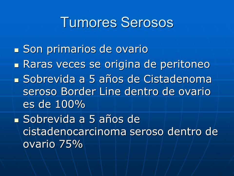 Tumores Serosos Son primarios de ovario Son primarios de ovario Raras veces se origina de peritoneo Raras veces se origina de peritoneo Sobrevida a 5