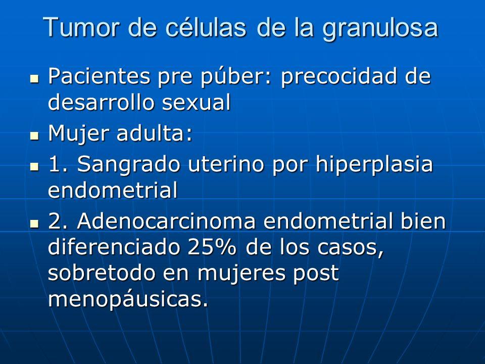 Tumor de células de la granulosa Pacientes pre púber: precocidad de desarrollo sexual Pacientes pre púber: precocidad de desarrollo sexual Mujer adult