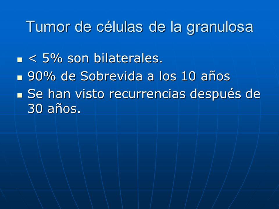 Tumor de células de la granulosa < 5% son bilaterales. < 5% son bilaterales. 90% de Sobrevida a los 10 años 90% de Sobrevida a los 10 años Se han vist