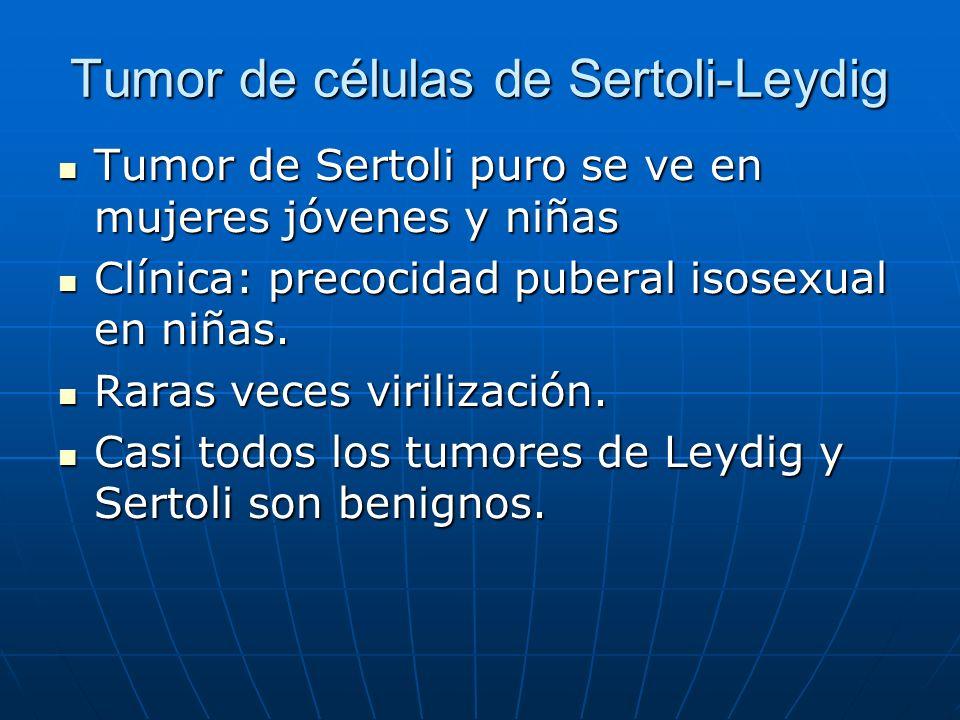 Tumor de células de Sertoli-Leydig Tumor de Sertoli puro se ve en mujeres jóvenes y niñas Tumor de Sertoli puro se ve en mujeres jóvenes y niñas Clíni