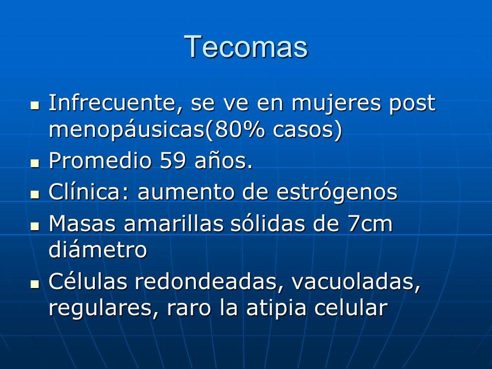 Tecomas Infrecuente, se ve en mujeres post menopáusicas(80% casos) Infrecuente, se ve en mujeres post menopáusicas(80% casos) Promedio 59 años. Promed
