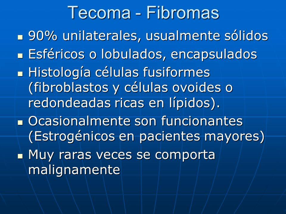 Tecoma - Fibromas 90% unilaterales, usualmente sólidos 90% unilaterales, usualmente sólidos Esféricos o lobulados, encapsulados Esféricos o lobulados,
