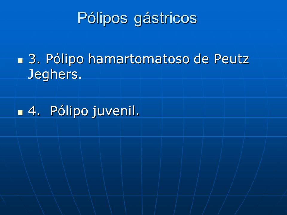 Pólipos gástricos 3. Pólipo hamartomatoso de Peutz Jeghers. 3. Pólipo hamartomatoso de Peutz Jeghers. 4. Pólipo juvenil. 4. Pólipo juvenil.