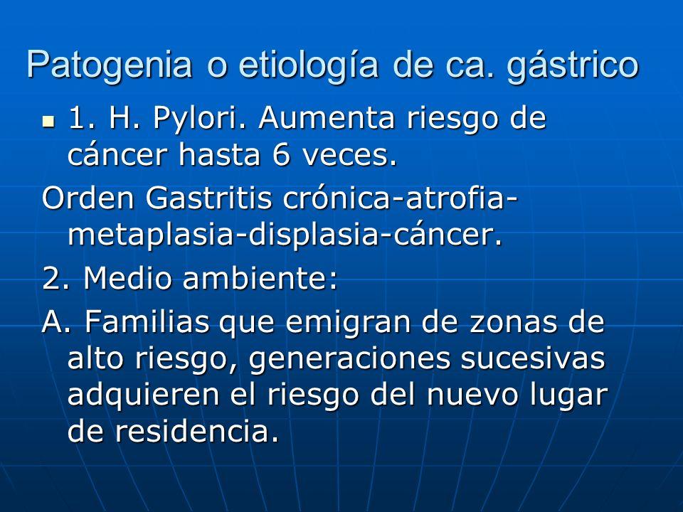 Patogenia o etiología de ca. gástrico 1. H. Pylori. Aumenta riesgo de cáncer hasta 6 veces. 1. H. Pylori. Aumenta riesgo de cáncer hasta 6 veces. Orde