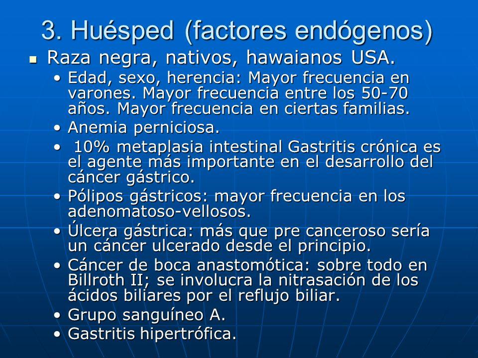 3. Huésped (factores endógenos) Raza negra, nativos, hawaianos USA. Raza negra, nativos, hawaianos USA. Edad, sexo, herencia: Mayor frecuencia en varo