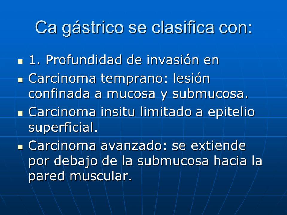 Ca gástrico se clasifica con: 1. Profundidad de invasión en 1. Profundidad de invasión en Carcinoma temprano: lesión confinada a mucosa y submucosa. C