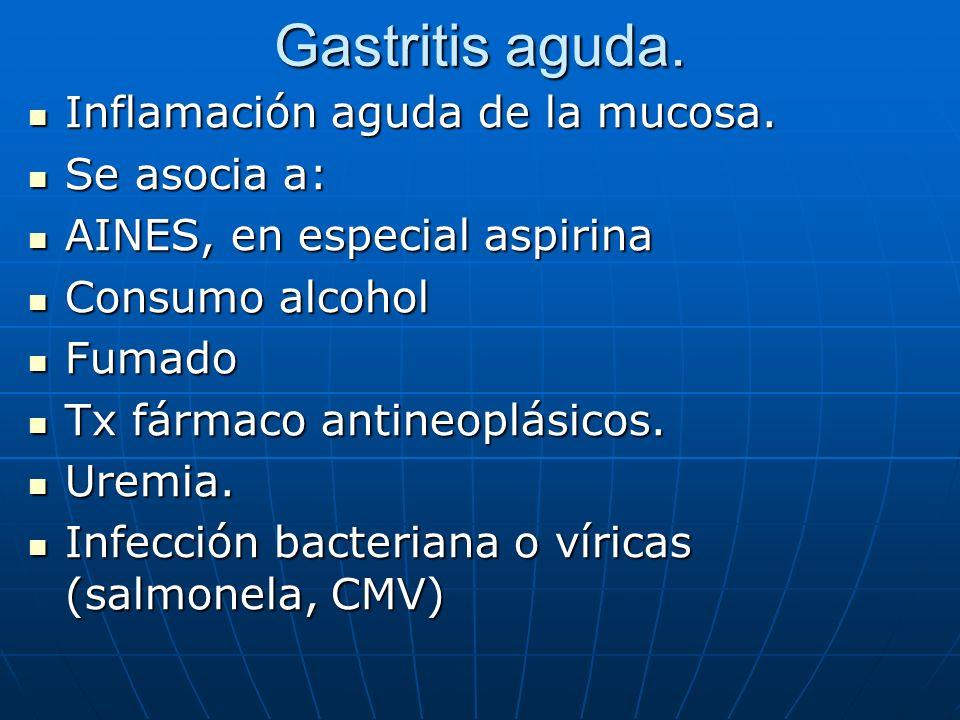 Gastritis aguda. Inflamación aguda de la mucosa. Inflamación aguda de la mucosa. Se asocia a: Se asocia a: AINES, en especial aspirina AINES, en espec