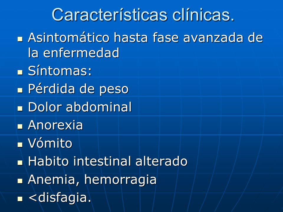 Características clínicas. Asintomático hasta fase avanzada de la enfermedad Asintomático hasta fase avanzada de la enfermedad Síntomas: Síntomas: Pérd