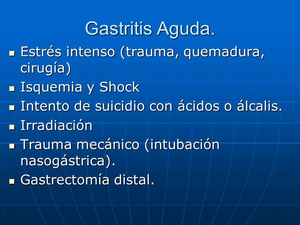 Gastritis Aguda. Estrés intenso (trauma, quemadura, cirugía) Estrés intenso (trauma, quemadura, cirugía) Isquemia y Shock Isquemia y Shock Intento de