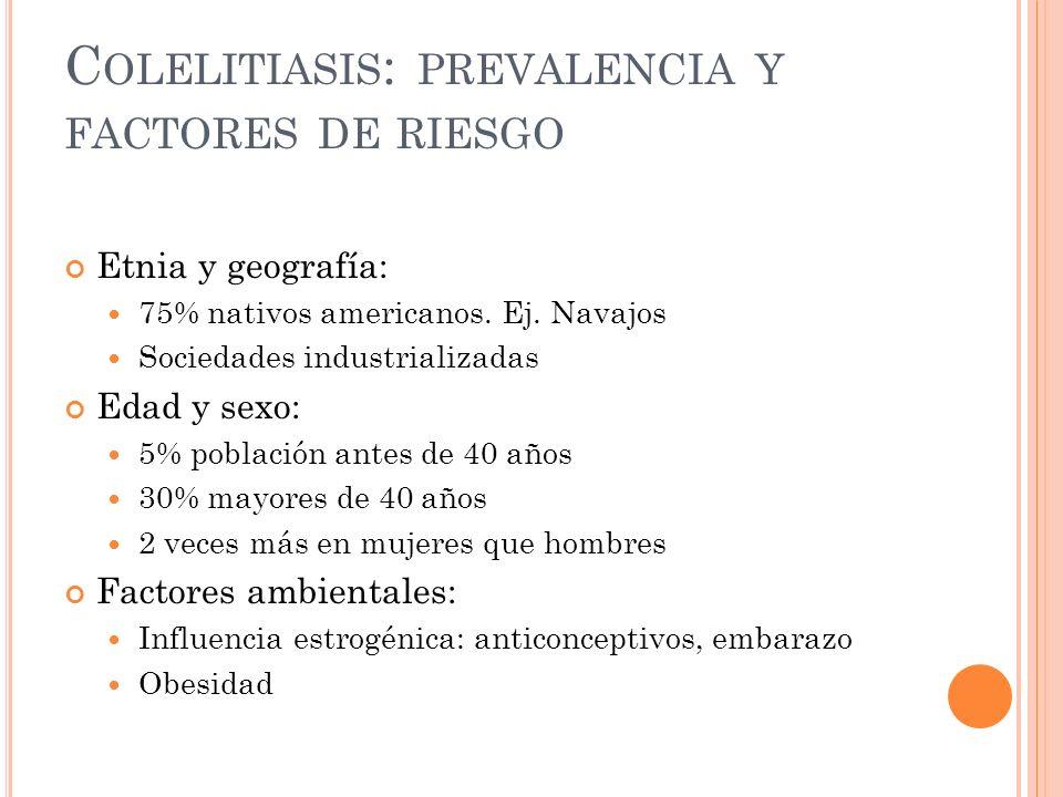 C OLELITIASIS : PREVALENCIA Y FACTORES DE RIESGO Etnia y geografía: 75% nativos americanos.
